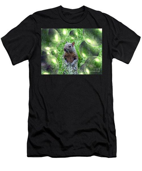 Squirrel In Bubbles Men's T-Shirt (Athletic Fit)
