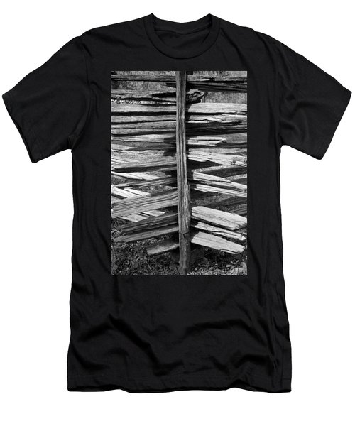 Men's T-Shirt (Slim Fit) featuring the photograph Stacked Fence by Lynn Palmer