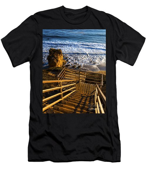 Men's T-Shirt (Slim Fit) featuring the photograph Steps To Blue Ocean And Rocky Beach by Jerry Cowart
