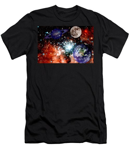 Star Field With Planets Men's T-Shirt (Athletic Fit)