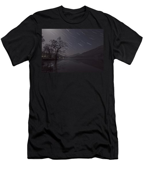 Star Trails Over Lake Men's T-Shirt (Athletic Fit)