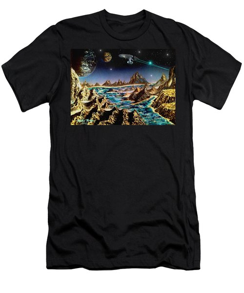 Star Trek - Orbiting Planet Men's T-Shirt (Slim Fit) by Michael Rucker