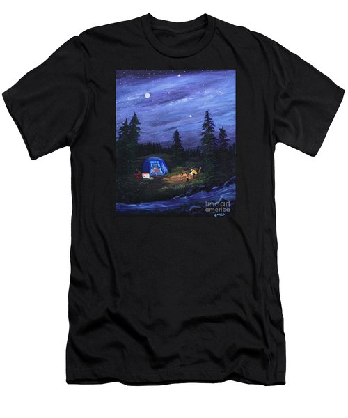 Starry Night Campers Delight Men's T-Shirt (Slim Fit) by Myrna Walsh