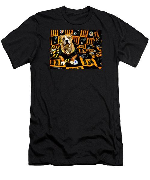 Pitbull Rescue Dog Football Fanatic Men's T-Shirt (Slim Fit) by Shelley Neff