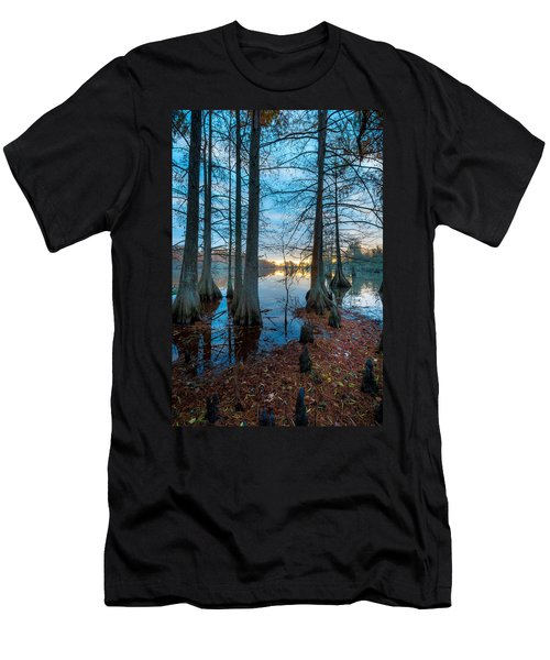 Steinhagen Reservoir Vertical Men's T-Shirt (Slim Fit) by David Morefield