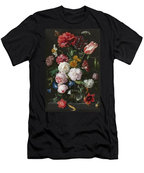 Still Life With Flowers In Glass Vase Men's T-Shirt (Athletic Fit)