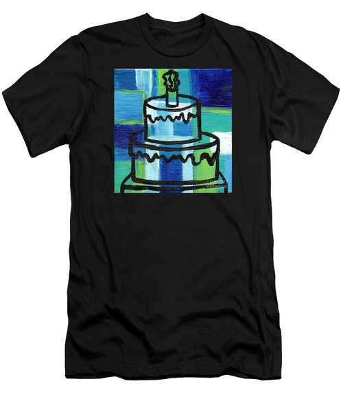 Stl250 Birthday Cake Blue And Green Small Abstract Men's T-Shirt (Slim Fit) by Genevieve Esson