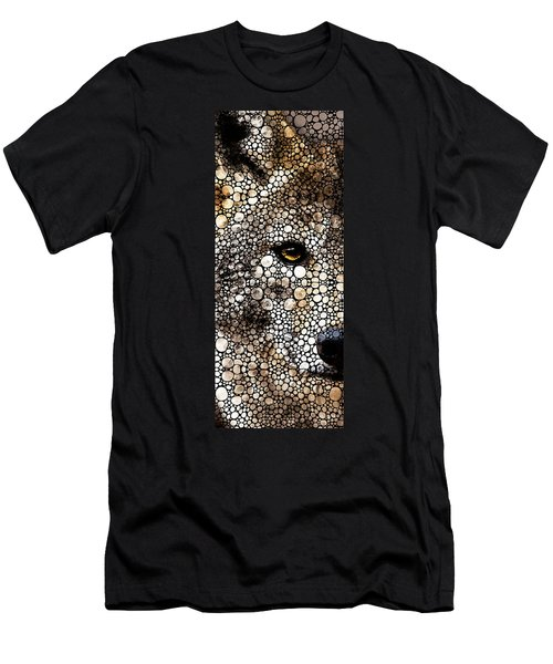 Stone Rock'd Wolf Art By Sharon Cummings Men's T-Shirt (Athletic Fit)