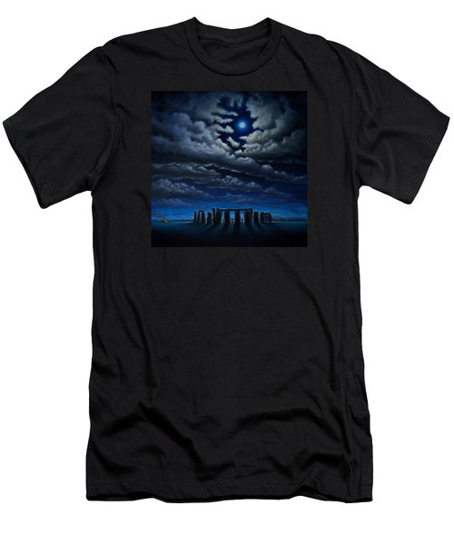 Men's T-Shirt (Slim Fit) featuring the painting Stonehenge - The People's Circle by Ric Nagualero