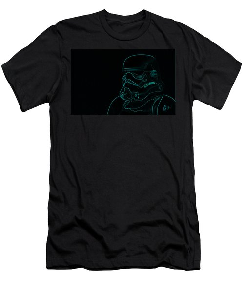 Men's T-Shirt (Slim Fit) featuring the digital art Stormtrooper In Teal by Chris Thomas