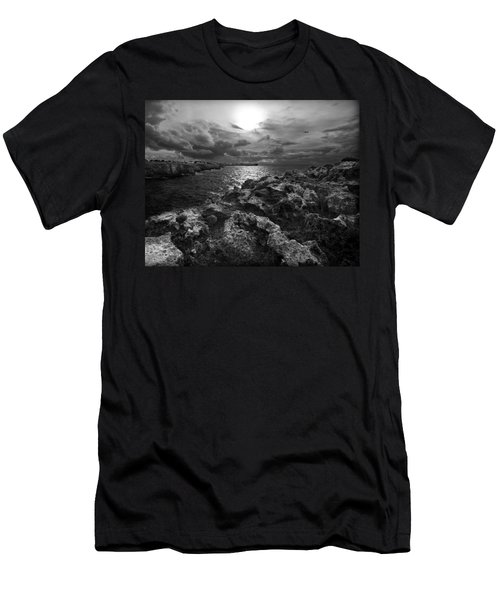 Blank And White Stormy Mediterranean Sunrise In Contrast With Black Rocks And Cliffs In Menorca  Men's T-Shirt (Slim Fit) by Pedro Cardona
