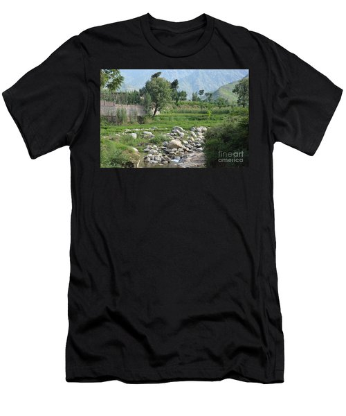 Stream Trees House And Mountains Swat Valley Pakistan Men's T-Shirt (Athletic Fit)