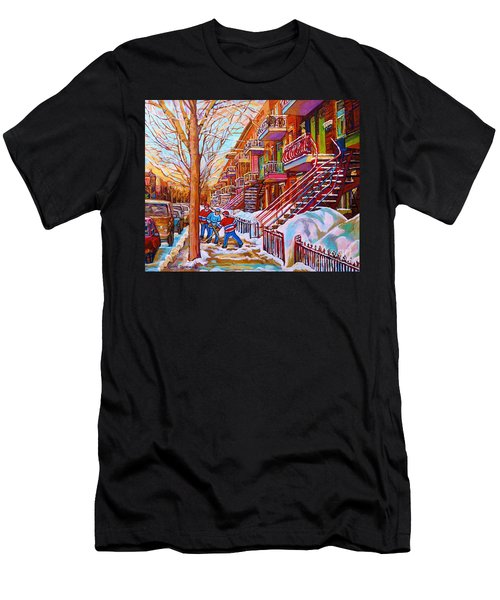 Street Hockey Game In Montreal Winter Scene With Winding Staircases Painting By Carole Spandau Men's T-Shirt (Athletic Fit)