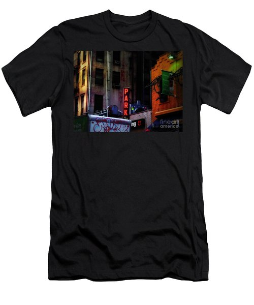 Men's T-Shirt (Slim Fit) featuring the photograph Graffiti And Grand Old Buildings by Miriam Danar