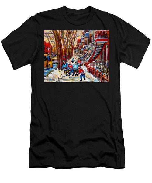 Streets Of Verdun Hockey Art Montreal Street Scene With Outdoor Winding Staircases Men's T-Shirt (Athletic Fit)