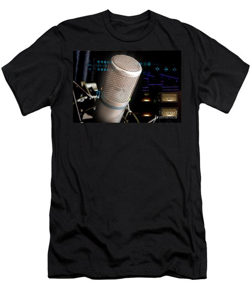 Men's T-Shirt (Slim Fit) featuring the photograph Studio Microphone And Recording Gear by Gunter Nezhoda