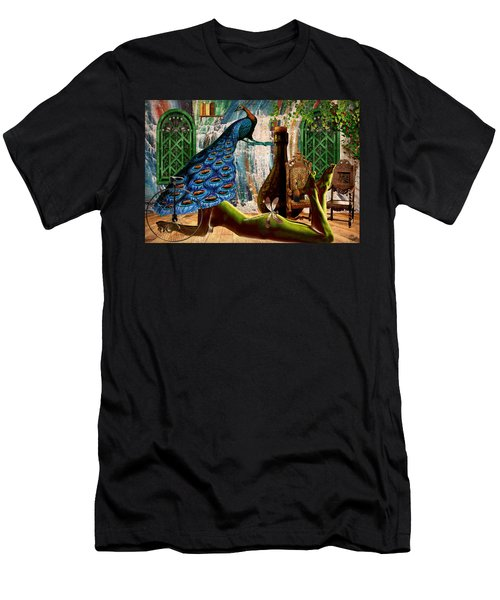 Men's T-Shirt (Slim Fit) featuring the painting Suck My Peacock by Ally  White