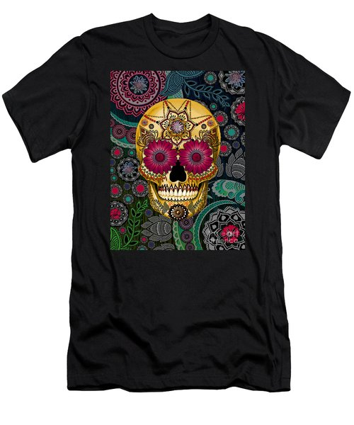 Sugar Skull Paisley Garden - Copyrighted Men's T-Shirt (Slim Fit) by Christopher Beikmann
