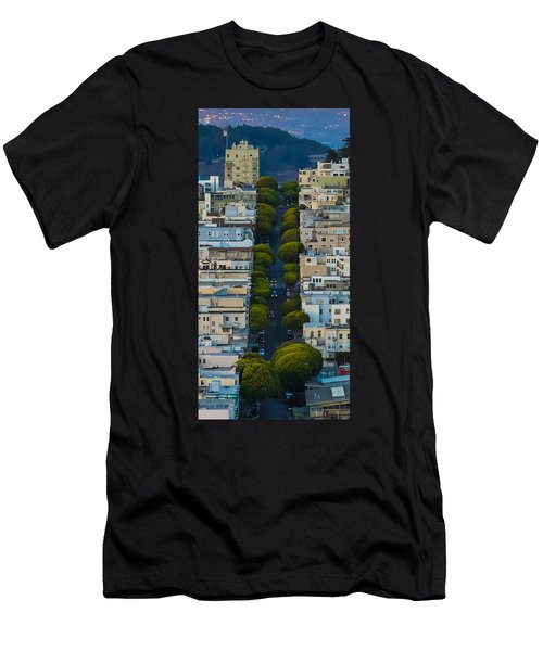 Summer Green On Lombard Street Men's T-Shirt (Athletic Fit)