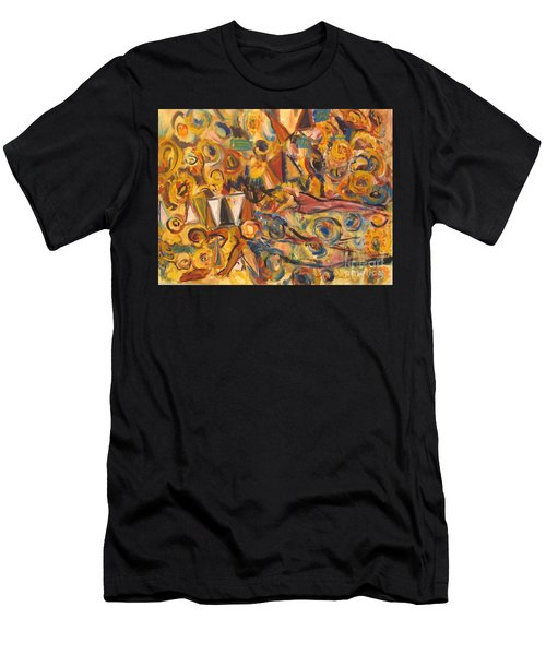 Sun- Bathing Among Yellow  Roses Men's T-Shirt (Athletic Fit)