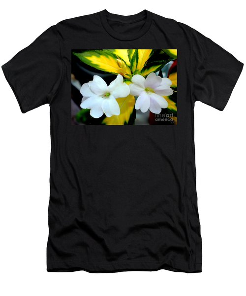 Sun Patiens Spreading White Variagated Men's T-Shirt (Athletic Fit)
