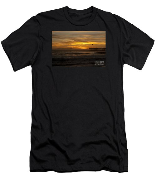 Men's T-Shirt (Slim Fit) featuring the photograph Sun Setting Behind Santa Cruz With Ventura Pier 01-10-2010 by Ian Donley