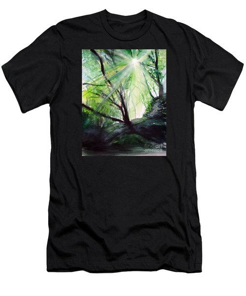 Men's T-Shirt (Slim Fit) featuring the painting Sunbeans Of Grace by Allison Ashton