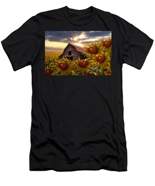 Men's T-Shirt (Athletic Fit) featuring the photograph Sunflower Dance by Debra and Dave Vanderlaan