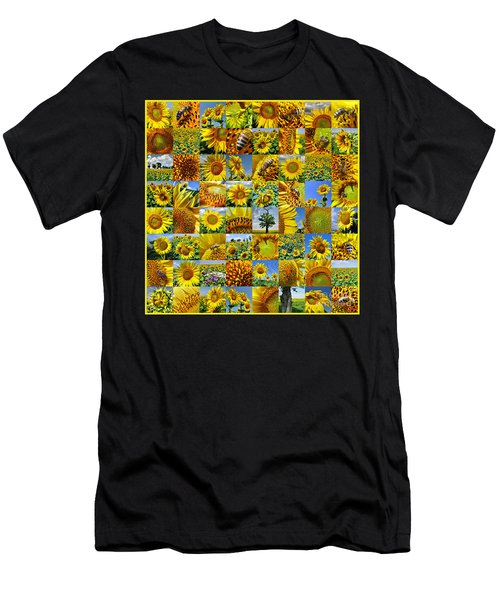 Sunflower Field Collage In Yellow Men's T-Shirt (Athletic Fit)