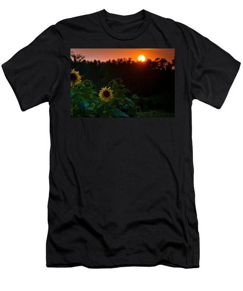 Men's T-Shirt (Slim Fit) featuring the photograph Sunflower Sunset by Cheryl Baxter