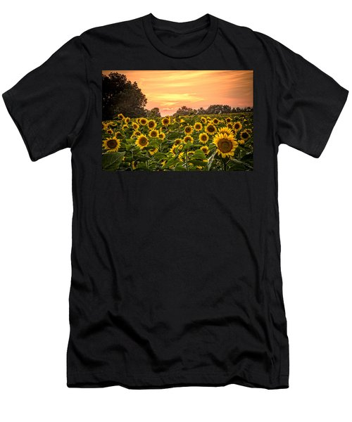 Men's T-Shirt (Slim Fit) featuring the photograph Sunflower Sunset by Steven Bateson