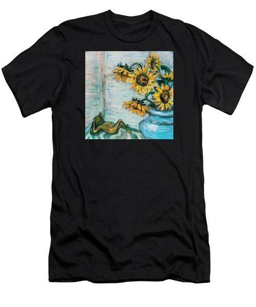 Sunflowers And Frog Men's T-Shirt (Athletic Fit)