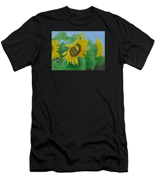 Sunflowers In The Wind Colorful Original Sunflower Art Oil Painting Artist K Joann Russell           Men's T-Shirt (Athletic Fit)