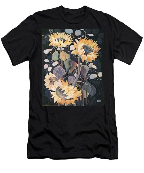 Men's T-Shirt (Slim Fit) featuring the painting Sunflowers' Symphony by Marina Gnetetsky