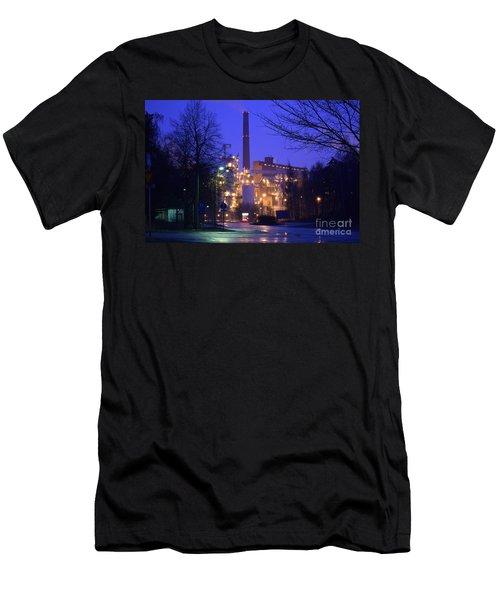 Sunila Pulp Mill By Rainy Night Men's T-Shirt (Athletic Fit)