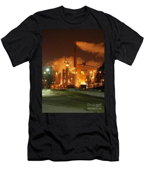 Sunila Pulp Mill By Winter Night Men's T-Shirt (Athletic Fit)