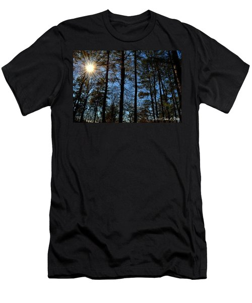 Men's T-Shirt (Slim Fit) featuring the photograph Sunlight Through Trees by Tara Potts