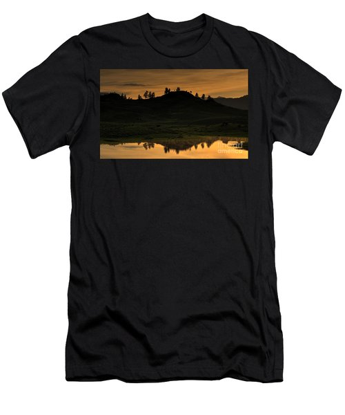 Men's T-Shirt (Slim Fit) featuring the photograph Sunrise Behind A Yellowstone Ridge by Bill Gabbert