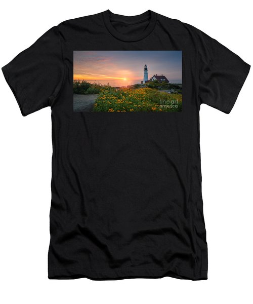 Sunrise Bliss At Portland Lighthouse Men's T-Shirt (Athletic Fit)