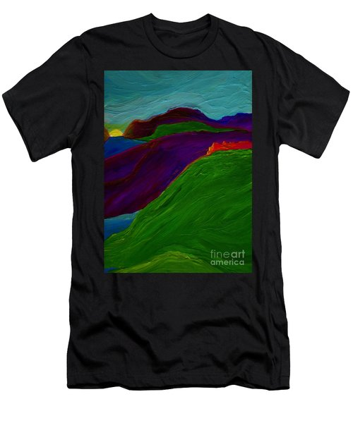 Men's T-Shirt (Slim Fit) featuring the painting Sunrise Castle By Jrr by First Star Art