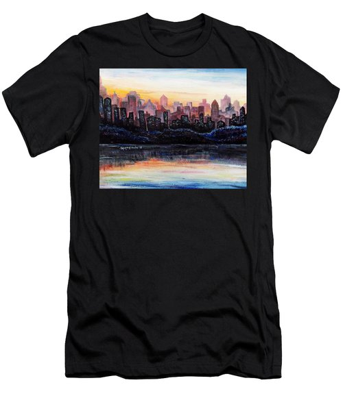 Men's T-Shirt (Slim Fit) featuring the painting Sunrise City by Shana Rowe Jackson