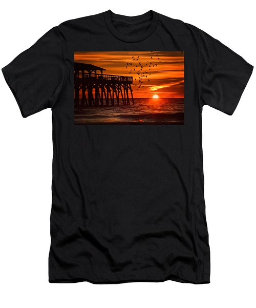 Sunrise In Myrtle Beach With Birds Flying Around The Pier Men's T-Shirt (Athletic Fit)