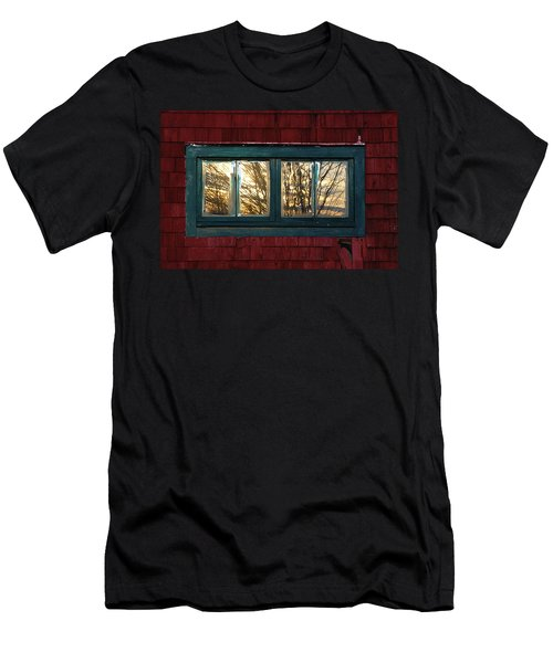 Men's T-Shirt (Slim Fit) featuring the photograph Sunrise In Old Barn Window by Susan Capuano