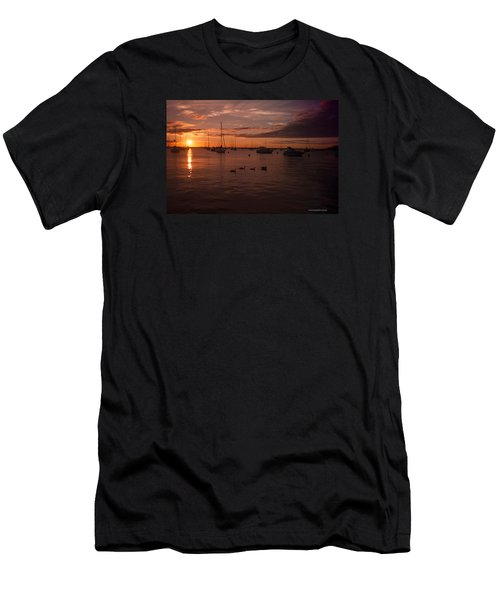 Sunrise Over Lake Michigan Men's T-Shirt (Slim Fit) by Miguel Winterpacht