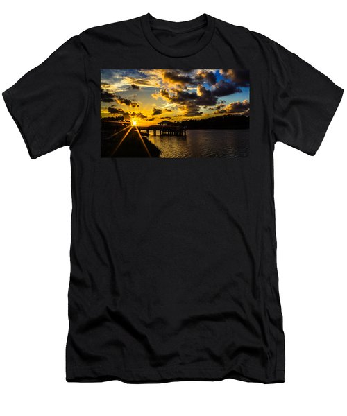 Men's T-Shirt (Athletic Fit) featuring the photograph Sunscaped Pier by Tyson Kinnison