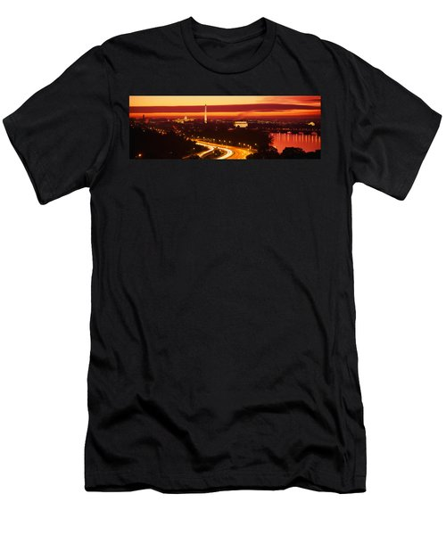 Sunset, Aerial, Washington Dc, District Men's T-Shirt (Slim Fit) by Panoramic Images