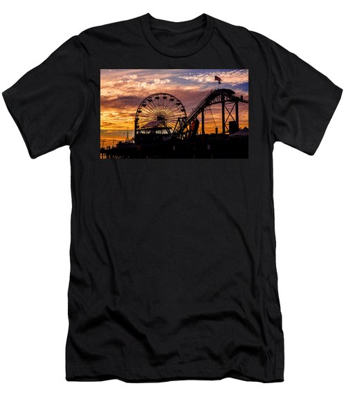 Sunset Amusement Park Farris Wheel On The Pier Fine Art Photography Print Men's T-Shirt (Athletic Fit)