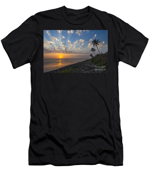 Men's T-Shirt (Athletic Fit) featuring the photograph Sunset At Alibag, Alibag, 2007 by Hitendra SINKAR