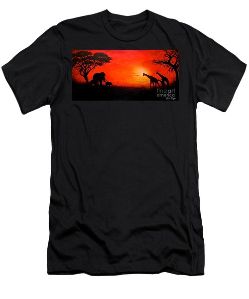 Men's T-Shirt (Slim Fit) featuring the painting Sunset At Serengeti by Sher Nasser
