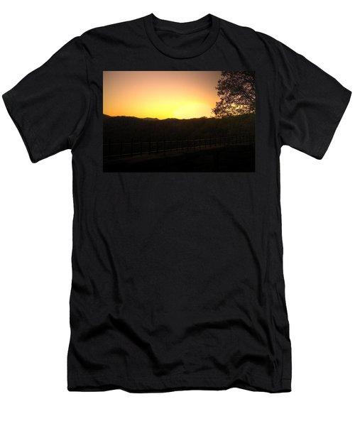 Men's T-Shirt (Slim Fit) featuring the photograph Sunset Behind Hills by Jonny D